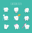 cute cartoon tooth set baby teeth health vector image