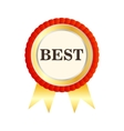 Gold medal with the word Best icon flat style vector image