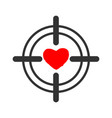 heart sight aim and love for valentines day vector image