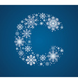 Letter C font frosty snowflakes vector image