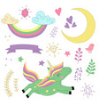 set of isolated unicorn and elements part 2 vector image
