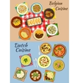 Dutch and belgian cuisine icon for food design vector image