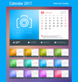 desk calendar planner template for 2017 year week vector image