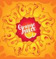 Banner orange juice orange slices and splashes vector image