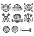 Darts labels set badge logos vector image