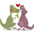 dinos in love cartoon vector image
