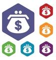 Dollar purse rhombus icons vector image