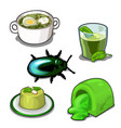 scarab and set of food set isolated vector image