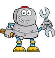 cartoon robot holding tools vector image vector image