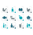 stylized food drink and aliments icons vector image