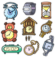 Watches and clock icons set vector image