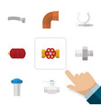 Flat icon plumbing set of connector water filter vector image