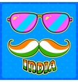 Indian kitsch style mustache and glasses vector image