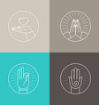 set of linear icons vector image