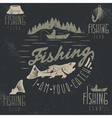 set of vintage grunge labels with fishing theme vector image