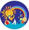 happy sun holding ice cream vector image vector image