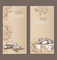 Best bakery cards Menu cards sketch vector image