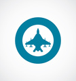 fighter airplane icon bold blue circle border vector image