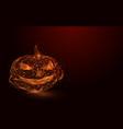 low polygon orange lines pumpkin mesh background vector image