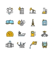 Oil Industry Outline Icon Color Set vector image