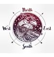 Wind rose compass with bird of prey head vector image