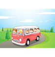 Little children riding in a bus vector image