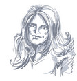 hand-drawn of beautiful romantic woman with long vector image