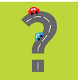 Background road big question mark and cartoon cars vector image