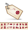 red and brown paper christmas gift tag label and vector image