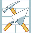 crossing hammer and trowel vector image