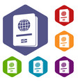 passport icons set vector image