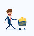 businessman with shopping cart full of money vector image