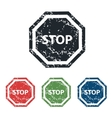 STOP sign grunge icon set vector image