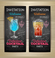 Chalk drawing cocktail valentine party poster vector image