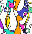 Seamless Pattern Of Geometric Abstract Cats vector image