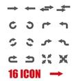 grey arrows icon set vector image