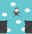 businessman jumping over abyss vector image
