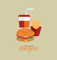 fast food menu with cheeseburger vector image