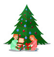 happy kids opens christmas gifts winter holidays vector image