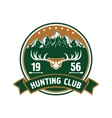 Hunting club round badge with deer antlers vector image