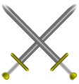steel swords on white vector image