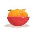 Red Ceramic Bowl Full With Fresh Garden Oranges vector image