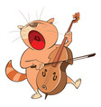 cute cat violinist jazz bassist vector image