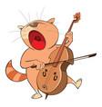 cute cat violinist jazz bassist vector image