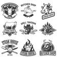 set of beef meat steak house emblems design vector image