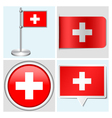 Switzerland flag - sticker button label vector image vector image