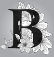 Capital Letter B floral monogram with hand drawn vector image