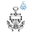 Vintage marine anchor sketch with ribbon vector image