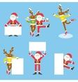 Santa Claus and Christmas reindeer Funny cartoon vector image