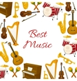 Best music poster of musical instruments vector image